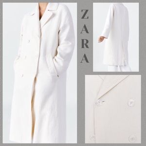 Zara Ivory double breasted coat - S-XS